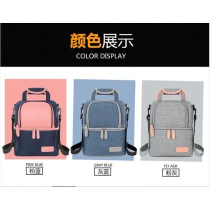V-Coool Luxury Edition Double Deck Backpack Cooler Bag - Pink Blue