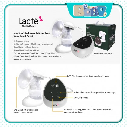 Lacte Solo 2 Rechargeable Breast Pump (Single Breast Pump)