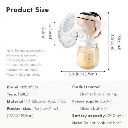 Boboduck 9 Gears Electric Breast Pump Wireless Rechargeable Breastpump