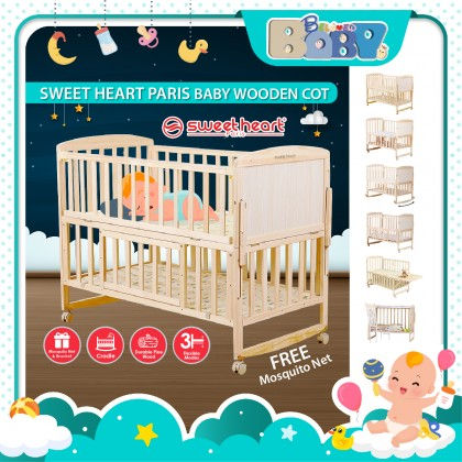 Sweet Heart Paris Baby Cot Multi Functional Wooden Cot (Free Mosquito Net)