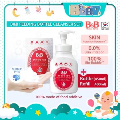 B&B Feeding Bottle Cleanser Set-Bubble Type (Bottle + Refill Pack)